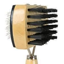Drewniana szczotka dwustronna z włosiem i drucikami