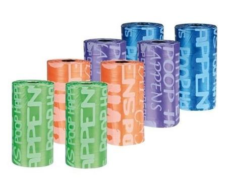 Kolorowe worki z napisami na psie odchody - 8 rolek po 20 sztuk