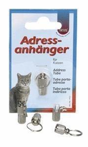 Mała, srebrna adresówka zakręcana dla kota