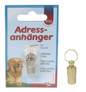 Srebrna adresówka na spacery z psem - zakręcana
