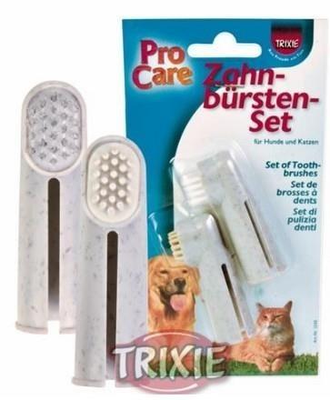Szczoteczki - nakładki na palec - do czyszczenia zębów psów i kotów - 2 szt