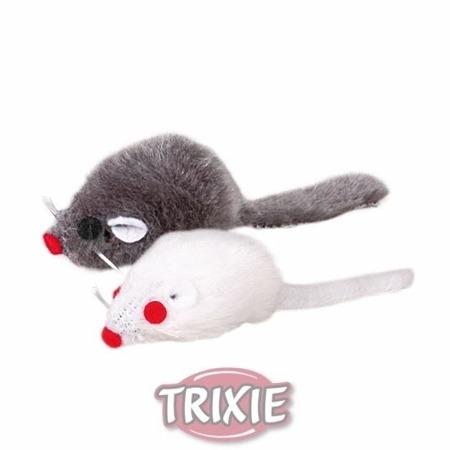 Trixie Myszki szara i biała z kocimiętką grzechoczące 5cm