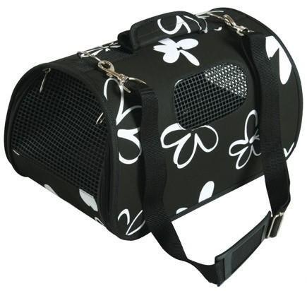 Średnia torba do noszenia i transportu małych zwierząt - czarna w kwiaty
